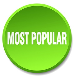 most popular green round flat isolated push button vector image