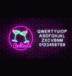 Neon cocktails bar sign with alphabet glowing gas vector