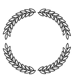 Olive branches forming circle in monochrome color vector