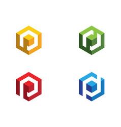 P logo hexagon icon vector