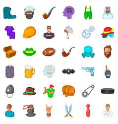Proficient icons set cartoon style vector