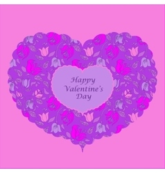Purple floral heart valentine card vector