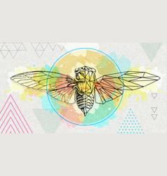 realistic and polygonal cicada vector image