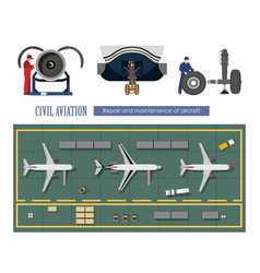 repair and maintenance of aircraft vector image