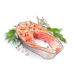 Salmon stake watercolor imitation with sketch vector