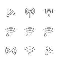set nine black outline wifi icons vector image