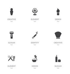 Set of 9 editable barbershop icons includes vector