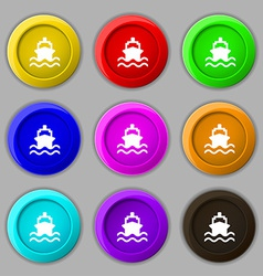 Ship icon sign symbol on nine round colourful vector