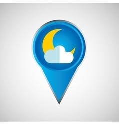 signal weather moon cloud pin design vector image