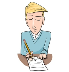Student doing test cartoon vector