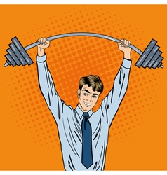 Successful Businessman with Barbell Pop Art vector