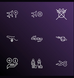 transportation icons line style set with cancelled vector image
