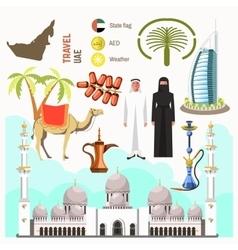 UAE travel concept map vector