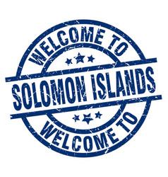 Welcome to solomon islands blue stamp vector