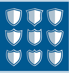 white shield signs and symbols set vector image