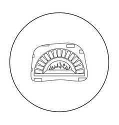 wood-fired oven icon in outline style isolated on vector image
