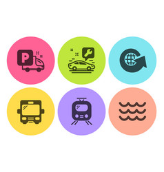 World globe train and car service icons set bus vector