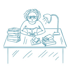 Young angry student studying with books bored vector