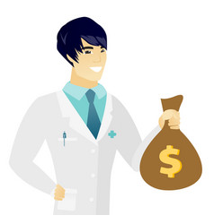 Young asian doctor holding a money bag vector