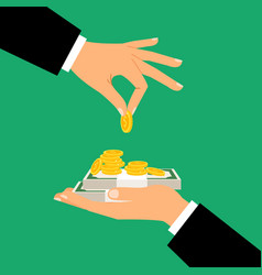 businessman hands holding money vector image vector image
