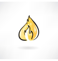 Fire grunge icon vector image vector image