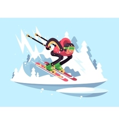 Man skiing in winter vector image