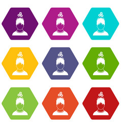 man with metal gears over head icon set color vector image vector image
