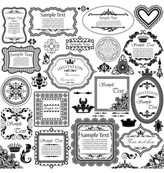 set of calligraphic design elements and floral vector image vector image