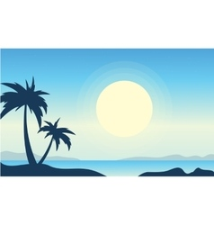 Silhouette of beach with big moon landscape vector