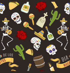 dia de los muertos day of the dead seamless vector image vector image