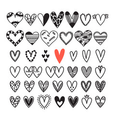 hand drawn set of hearts sketch collection for vector image vector image