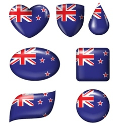 New Zealand Flag in various shape glossy butto vector image vector image