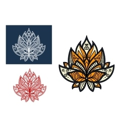Outline persian paisley flower with retro ornament vector image vector image