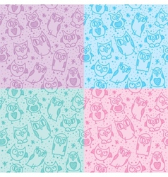 owl seamless patterns vector image