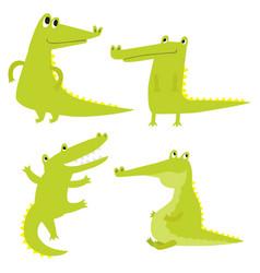 set with happy fun crocodiles cartoon vector image