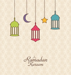 Celebration Islamic Card with Arabic Hanging Lamps vector image