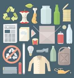 color flat style separated waste icons and signs vector image vector image