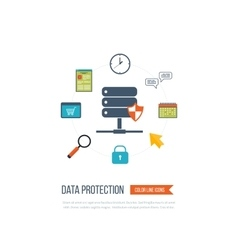 Data protection and safe work investment vector