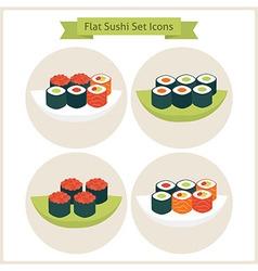 Flat sushi circle icons set vector