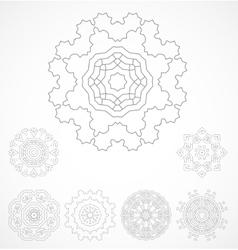 Set of geometric outline rosetta ornamet vector image