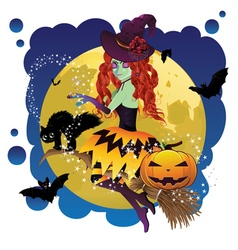 Witch and Full Moon7 vector image vector image