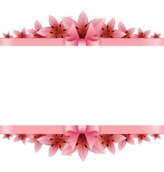 Border of rose petals with pink bow vector image
