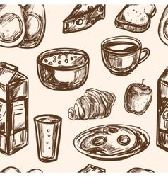 Hand drawn breakfast food seamless pattern vector
