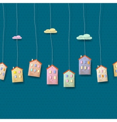 Homes made from paper on blue vector image vector image