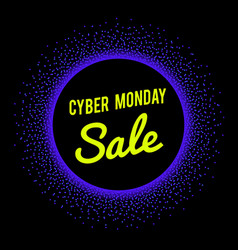 neon sale technology banner for cyber monday vector image vector image