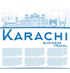 Outline Karachi Skyline with Blue Landmarks vector image vector image