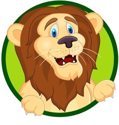 Printsmiling lion cartoon vector image vector image
