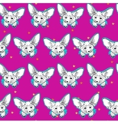 Seamless pattern with cute fox animal and gold vector image vector image