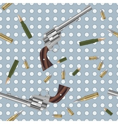Seamless pattern with guns and bullets vector image