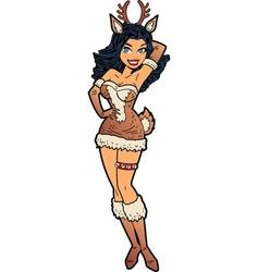 Sexy Christmas Reindeer Girl vector image vector image